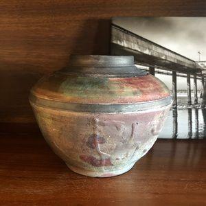 Handmade Fire Glazed Vertigris Vessel Pottery Vase